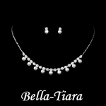 Silver & White Pearl communion flowergirl Necklace set - SALE