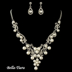 Elegant Silver White Pearl & Rhinestone Swirl Necklace Set - SPECIAL