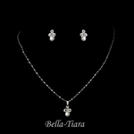 Simple beauty pearl rhinestone communion necklace set - SALE