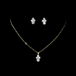 Simple elegance gold rhinestone necklace set