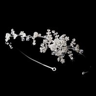 Franca - Simple elegant floral vine crystal headband - SALE