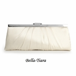 Sleek Framed Ivory Satin Wedding Purse