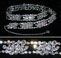 Sloan- Spectacular vine swarovski crystal wedding belt - SPECIAL