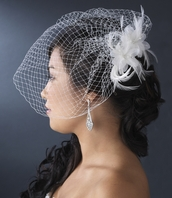 Sofia-Feather Fascinator Wedding Cage Veil