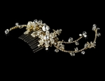 Sofie - Stunning gold Swarovski crystal side hair comb - SALE