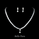 Sole - Pretty white pearl rhinestone communion jewelry set