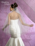 Sophisticated elegant 2-tier silver beaded edge wedding veil - SALE
