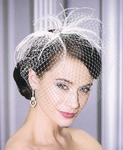 Sophisticated feather cage veil - bel aire 6080 - SPECIAL one light ivory left