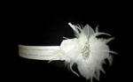Sophisticated Swarovski crystal and feather flower wedding belt - SALE