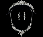 Sparking Floral Tiara and Matching Necklace Set