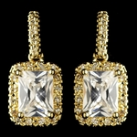 Sparkling emerald cut gold earrings - SALE