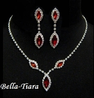 Sparkling - Red Triple Navette Drop Necklace and Earring Set - QUANTITY DISCOUNT
