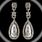Sparkling Silver Clear Rhinestone & CZ Crystal Dangle Earrings