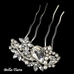 NEW!! Sparkling Silver Clear Rhinestone & White Pearl Vintage Hair Comb