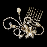 SPECIAL - Gold or Silver Clear Floral Rhinestone Side Comb - SPECIAL