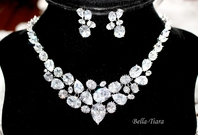 SPECTACULAR bold cz wedding necklace set - SALE