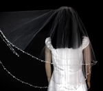 Spectacular high end crystal and pearl first communion veil