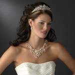 SPECTACULAR - freshwater pearl crystal tiara necklace set - SALE