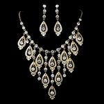 Spectacular gold statement evening neckace set