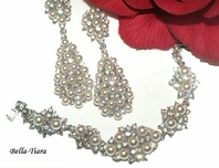 Starlets - Couture ivory pearl earrings and bracelet set - SPECIAL two sets left