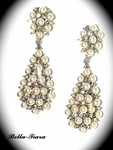 Starlets - Beautiful ivory pearl and crystal bridal earrings - SPECIAL