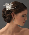 Starstruck - Rhinestone Dazzle White Feather Bridal Hair Comb  - CLEARANCE - one left
