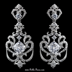 Sterling Silver Clear CZ Crystal Wedding Chandelier Earrings - SALE