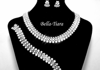 Chlara - High End 3pc CZ Necklace earring and bracelet set - RENTAL