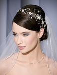 Stunning 2 tier rhinestone edge bel aire wedding veil - SPECIAL one left