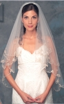 Stunning 2-tier  Vintage Beaded lace edge bridal veil - SALE!