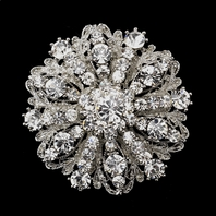 Stunning Antique Silver Clear Wedding Brooch - SALE