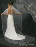Stunning Cathedral Embroidered Edge Bridal Veil