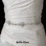 Stunning Clear Rhinestone Belt with Ribbon Tie