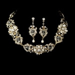 STUNNING Crystal freshwater pearl gold wedding necklace set - SALE