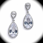 Stunning CZ pearl drop wedding earrings - SALE