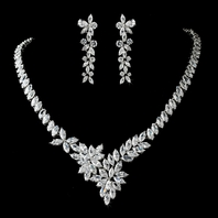 STUNNING CZ Vine Bridal Necklace Set