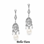 Stunning CZ Wedding Earrings with Pearl Drops