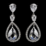 Stunning CZ with crystal wedding earrings - SALE