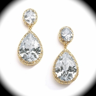NEW! Stunning Gold CZ Pear-Shaped Drop Earrings