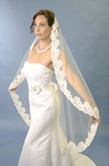 Stunning high end beaded mantilla alencon lace wedding veil - sale