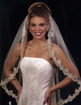 STUNNING Mantilla style silver or gold beaded bridal veil - 4601