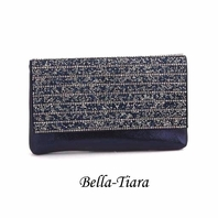 STUNNING Navy blue beaded rhinestone evening wallet clutch purse - SALE