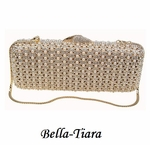 Stunning Pearl & Gold Crystal Evening Clutch