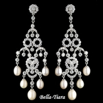 Stunning Silver CZ Crystal & Freshwater Pearl Chandelier Earrings