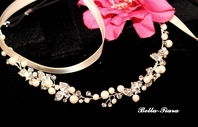 Elegant pearl and crystal ribbon bridal vine halo headband - SALE
