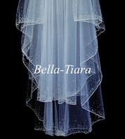 STUNNING two tier crystal beaded edge fingertip bridal veil - SALE!!
