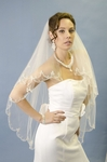 Stunning Vintage beaded 2 tier scalloped edge veil - SALE