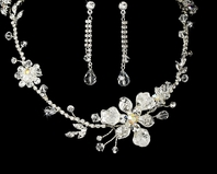 Swarovski Crystal Silver Bridal Necklace Set