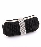 Symphony - Couture black satin rhinestone evening purse - SALE