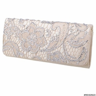 Tanya - Stunning champagne lace crystal clutch purse - SALE two left